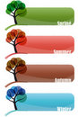 Set tree season banner Royalty Free Stock Images