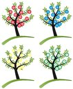 Set of tree stylized with flowers Royalty Free Stock Photos
