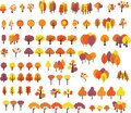 Set of trees in different styles in autumn colors Royalty Free Stock Photo