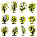 Set of trees illustrations. Stock Photos