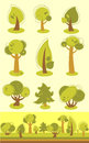 Set of trees variety in cartoon style Royalty Free Stock Photography