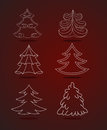 Set of trees vector christmas Royalty Free Stock Images