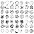 A set of treetop symbols for architectural or landscape design black and white Stock Images