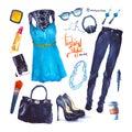 Set of trendy look. Watercolor clothes