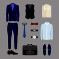 Set of trendy men's clothes and accessories. Men's wardrobe Royalty Free Stock Photo