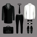 Set of  trendy men's clothes. Outfit of man coat, pants, shirt a Royalty Free Stock Photo