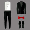 Set of trendy men's clothes with pants, jacket, shirt Royalty Free Stock Photo