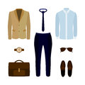 Set of trendy men's clothes with pants, shirt, jacket and access Royalty Free Stock Photo
