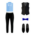 Set of trendy men's clothes with pants, vest, shirt and accessor Royalty Free Stock Photo