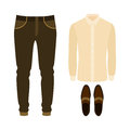 Set of trendy men's clothes with shirt, pants and loafers. Men's Royalty Free Stock Photo