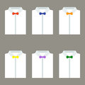 Set of trendy men's white shirts with bow ties Royalty Free Stock Photo