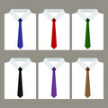 Set of trendy men's white shirts with ties Royalty Free Stock Photo
