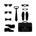Set of trendy monochrome men's accessories. Men's wardrobe Royalty Free Stock Photo