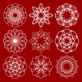 Set of trendy vintage monoline circle patterns geometric symmetric lace patterns in art deco design on dark red background Royalty Free Stock Image