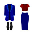 Set of trendy women's clothes. Outfit of woman jacket, skirt, b