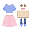 Set of trendy women's clothes. Outfit of woman skirt, blouse and Royalty Free Stock Photo