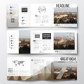 Set of tri-fold brochures, square design templates. Polygonal background, blurred image, urban landscape, Prague Royalty Free Stock Photo