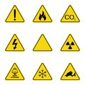 Set of triangle warning signs. Warning roadsign icon. Danger-warning-attention sign. Yellow background