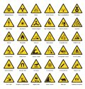 Set of triangle yellow warning sign hazard dander attention symbols chemical flammable security radiation caution icon Royalty Free Stock Photo