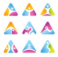 Set of triangular fitness symbols and icons colorful Royalty Free Stock Images