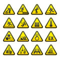 Set of Triangular Warning Hazard  Signs Stock Images