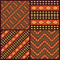 Set of tribal african seamless patterns style Royalty Free Stock Photo