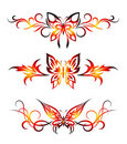 Set tribal with butterflies, tattoo Royalty Free Stock Photography