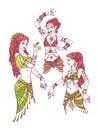 Set of Tribal Dancer Girls.