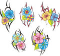 Set of tribal flower tattoos miscellaneous rose vector illustrations Royalty Free Stock Images