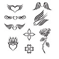 Set of tribal tattoo including hearts rose swall swallow wings vector illustration Royalty Free Stock Photos