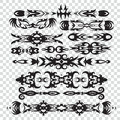 Set of tribal tattoos elements in black color for design, Royalty Free Stock Photo