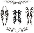 Set of  tribal vector tattoos Royalty Free Stock Image