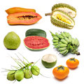 Set of tropical fruit in thailand isolated Royalty Free Stock Photography