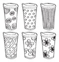 Set of tumbler doodle on white background Stock Photography