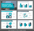 Set of turquoise and gray elements for multipurpose presentation template slides with graphs and charts. Leaflet