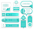 Set of turquoise vector progress, version, step icons. Royalty Free Stock Photo