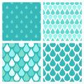 Set of turquoise vector water drops seamless patterns Royalty Free Stock Photo