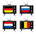 Set of Tv with flags Royalty Free Stock Photos