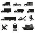 Set of twelve cargo transportation icons Royalty Free Stock Photo