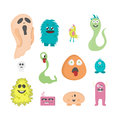 Set of twelve cartoon cute monsters on white background.