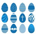 Set of twelve easter eggs in flat geometric style