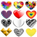 Set of twelve hearts colorful and special Royalty Free Stock Photos