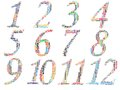 Set of twelve monthly calendars info text graphics and arrangement concept word cloud on white background Stock Photos