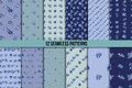 Set of twelve seamless patterns with blue flowers