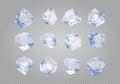 Set of twelve transparent ice cubes