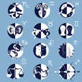 Set of twelve zodiac horoscope signs and symbols vectors Stock Photography