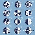 Set of Twelve Zodiac Horoscope Signs and Symbols