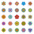 Set of twenty-five isolated symmetrical multicolored flowers consisting of geometric elements