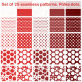 Set of twenty fives polka dots seamless patterns shades of red all in separate layer vector eps Stock Photos