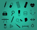 Set of twenty medical and health care simple icons in black on greenish blue background vector eps format is available Stock Image